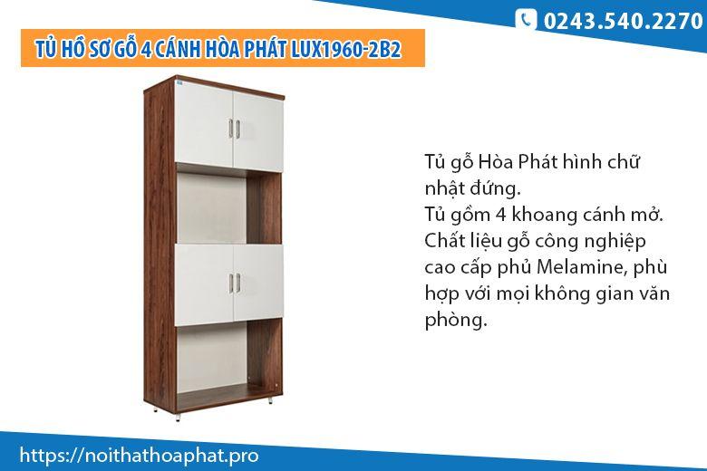 Tủ hồ sơ gỗ Hòa Phát LUX1960-2B2