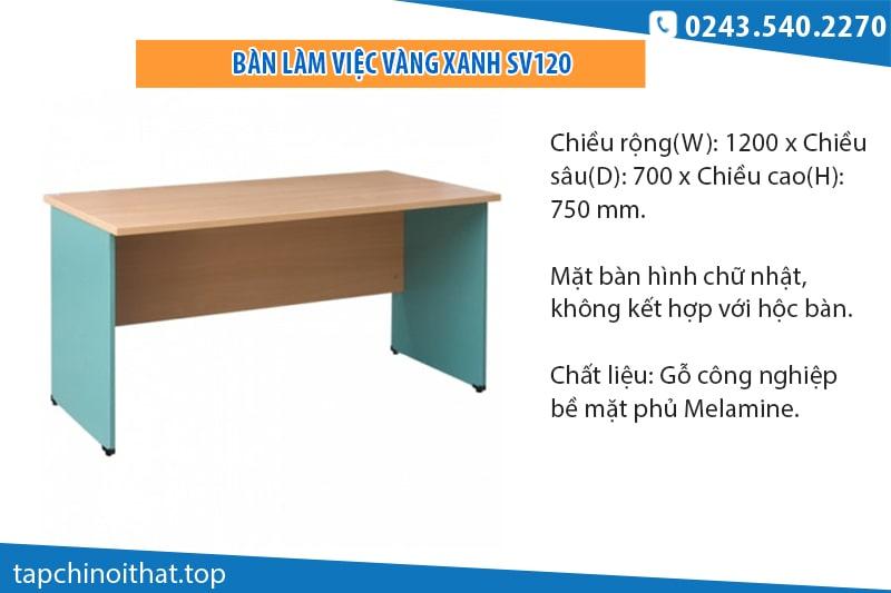 Hòa Phát SV120 - Bàn làm việc vàng xanh 1m2 không hộc