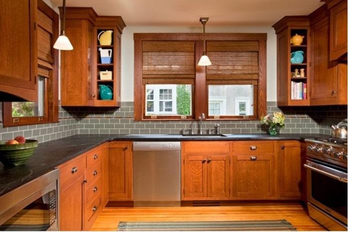 Cửa sổ khung gỗ hiện đại cho gian bếp