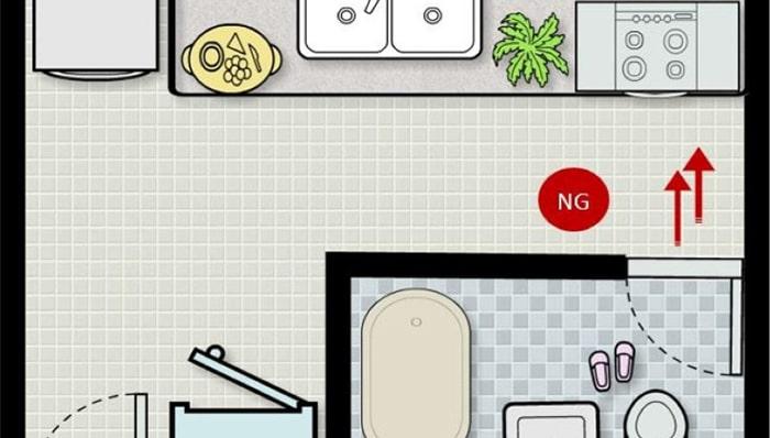 Đặt bếp đối diện nhà vệ sinh tiêu tán tài lộc