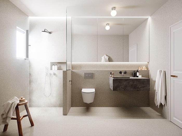 Sự tối giản của không gian đến từ việc sử dụng thiết bị vệ sinh âm tường