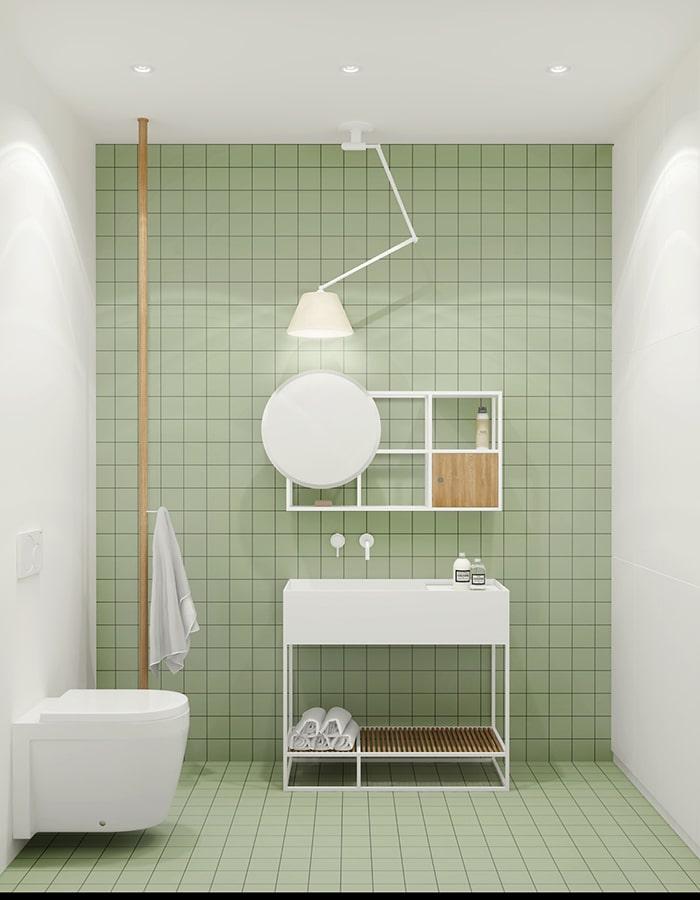 Sự tối giản được thể hiện qua bày trí nội thất kết hợp cùng màu xanh lá nhẹ khá độc đáo